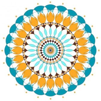 Projekt mandali w kolorach pomarańczowym i niebieskim
