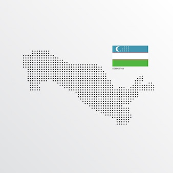 Projekt mapa uzbekistanu z flagą i tło wektor światło