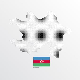 Projekt mapy azerbejdżanu z flagą i tło wektor światło