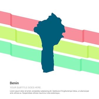 Projekt mapy benin z białym tłem