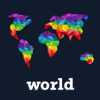 Projekt mapy kolorów świata. trójkąt kolorowe kontynenty