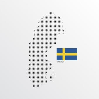 Projekt mapy szwecji z flagą i tło wektor światło