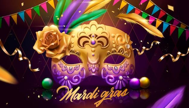 Projekt mardi gras ze złotą maską, kolorowymi flagami i dekoracją piór na fioletowym tle rombowym, ilustracja 3d