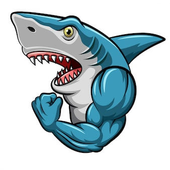 Projekt maskotka silny rekin kreskówka