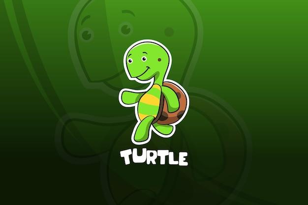 Projekt maskotki e-sport żółwia. bieganie