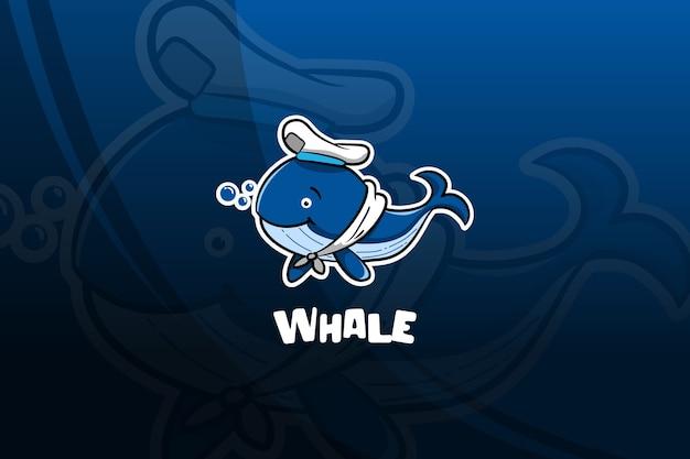 Projekt maskotki e-sportowej wieloryba. marynarz