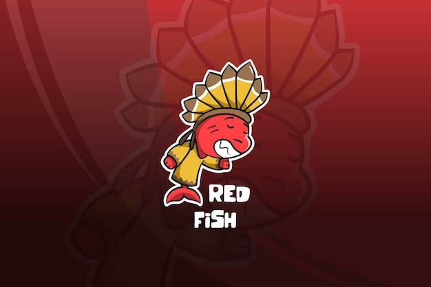 Projekt maskotki esport czerwona ryba. indyjski