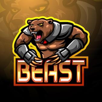 Projekt maskotki esport z logo beast bear