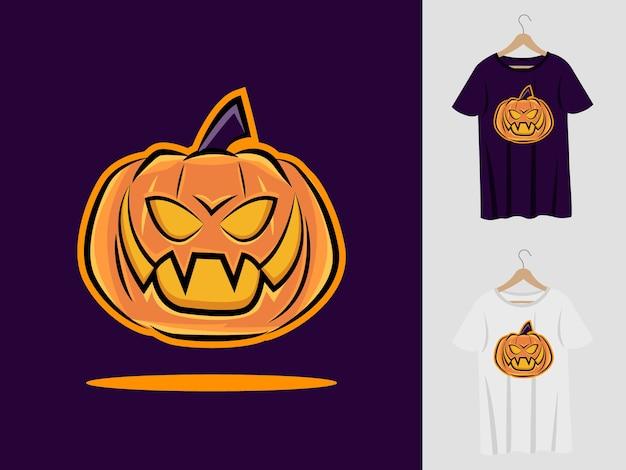 Projekt maskotki halloween dyni z t-shirt. ilustracja dyni na imprezę halloweenową i koszulkę z nadrukiem