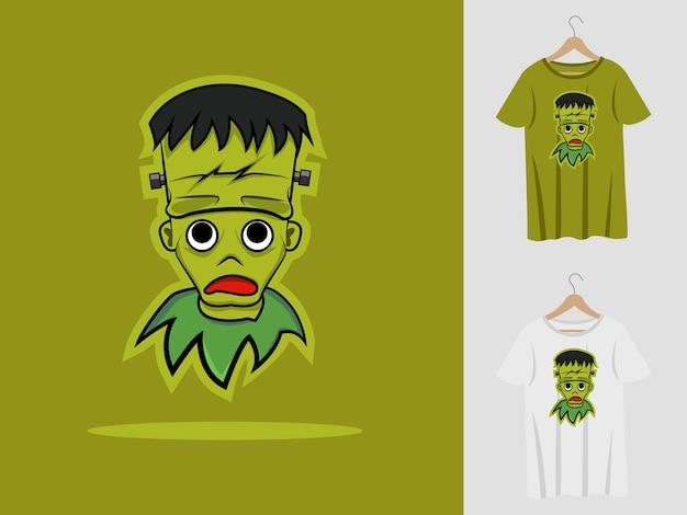 Projekt maskotki halloween frankenstein z t-shirtem. urocza ilustracja frankensteina na imprezę halloweenową i koszulkę z nadrukiem