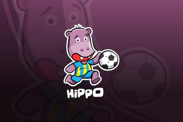 Projekt maskotki hipopotam esport. piłka nożna
