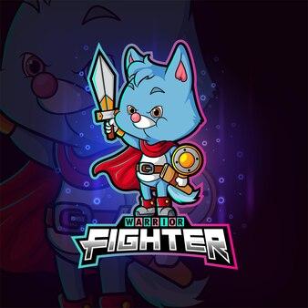 Projekt maskotki kota myśliwskiego e-sportu z ilustracji