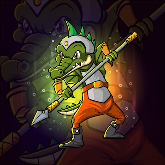 Projekt maskotki krokodyla e-sportowego wojownika z ilustracji