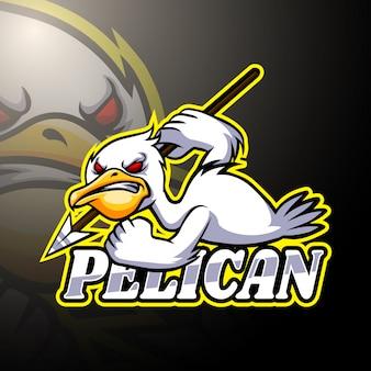 Projekt maskotki logo e-sportu pelikan