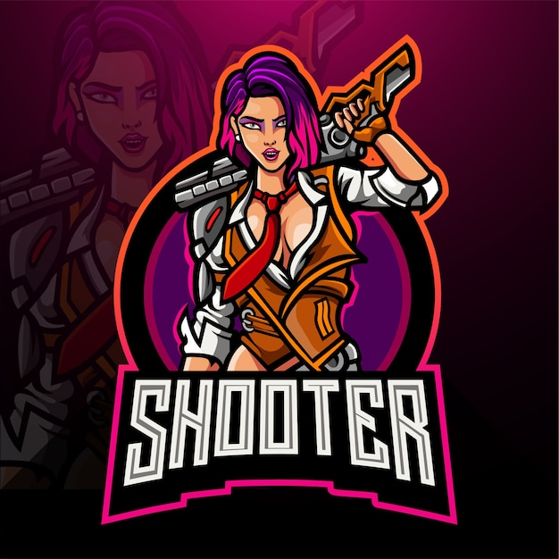 Projekt maskotki logo esport kobieta strzelanka