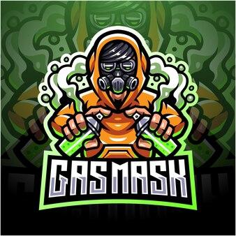 Projekt maskotki logo esportowe maską gazową