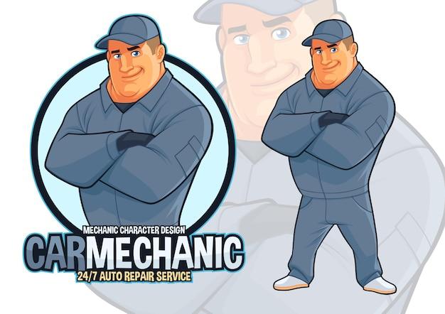 Projekt maskotki mechanika naprawy samochodów dla usług konserwacji samochodów