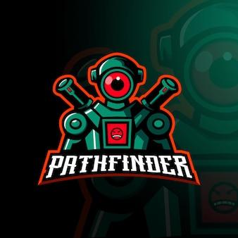 Projekt maskotki postaci z gry apex z logo maskotki pathfinder dla zespołu graczy esport