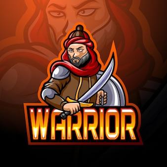 Projekt maskotki z logo arabskiego wojownika