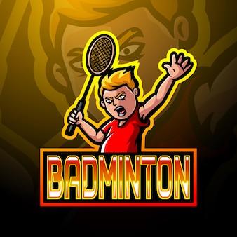 Projekt maskotki z logo badmintona e sport