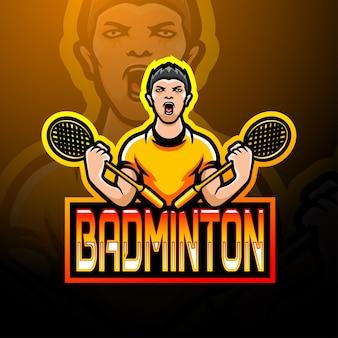 Projekt maskotki z logo badmintona esport