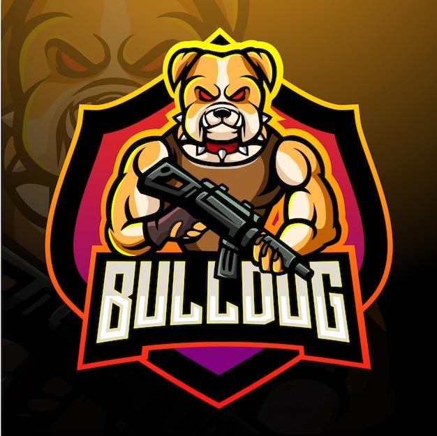 Projekt maskotki z logo bulldog esport