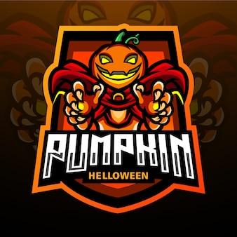 Projekt maskotki z logo dyni esport