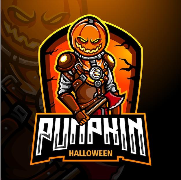 Projekt maskotki z logo dyni helloween esport