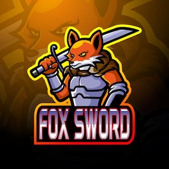 Projekt maskotki z logo e-sportowego miecza lisa