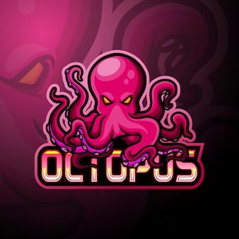 Projekt maskotki z logo e-sportowej ośmiornicy