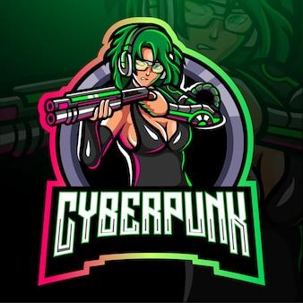Projekt maskotki z logo e-sportowym cyberpunk