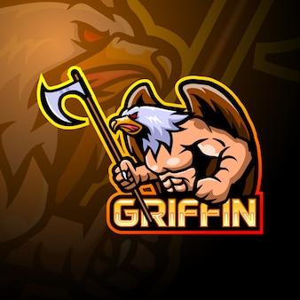 Projekt maskotki z logo e-sportowym griffin