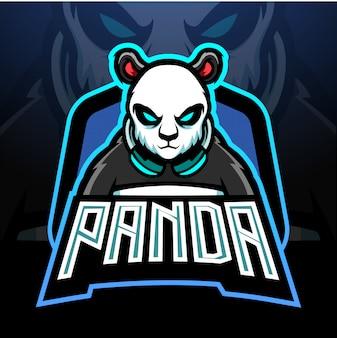 Projekt maskotki z logo e-sportowym panda