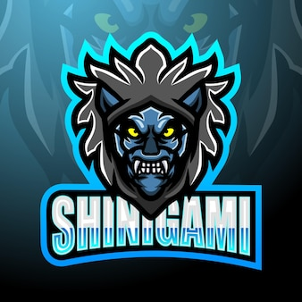 Projekt maskotki z logo e-sportowym shinigami