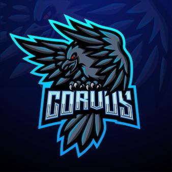 Projekt maskotki z logo e-sportu corvus