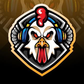 Projekt maskotki z logo e-sportu do gier koguta