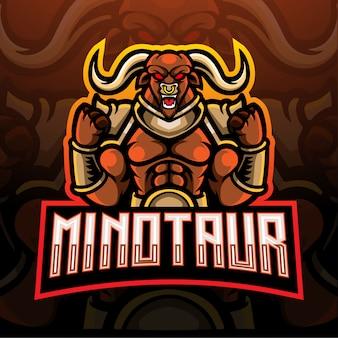 Projekt maskotki z logo e-sportu minotaur.