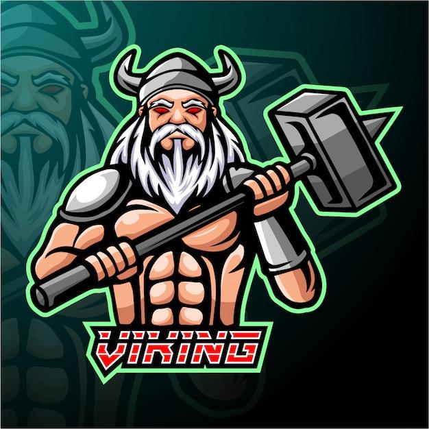 Projekt maskotki z logo e-sportu viking
