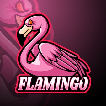 Projekt maskotki z logo esport flamingo