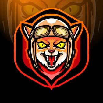 Projekt maskotki z logo esport głowy kota