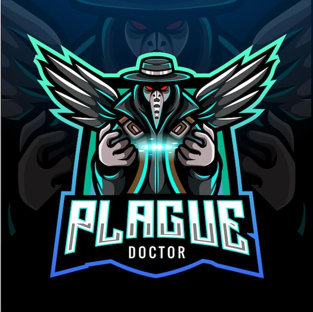 Projekt maskotki z logo esport lekarza plagi