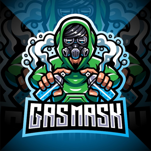 Projekt maskotki z logo esport maski gazowej