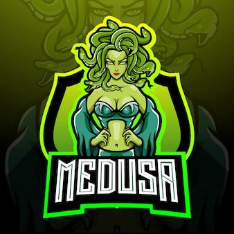 Projekt maskotki z logo esport medusa