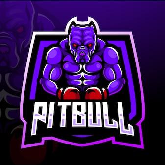 Projekt maskotki z logo esport pitbull