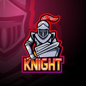 Projekt maskotki z logo esport rycerza