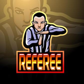 Projekt maskotki z logo esport sędziego