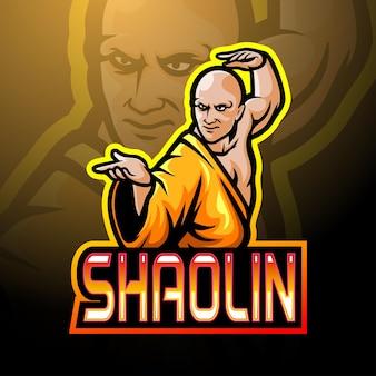 Projekt maskotki z logo esport shaolin
