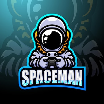 Projekt Maskotki Z Logo Esport Spaceman Premium Wektorów