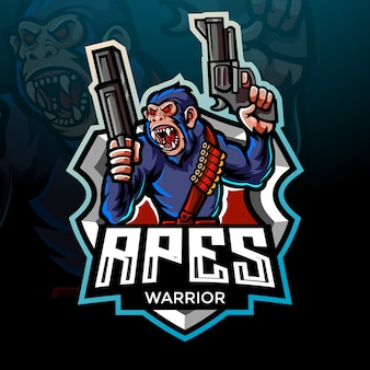 Projekt maskotki z logo esport wojownika małpy