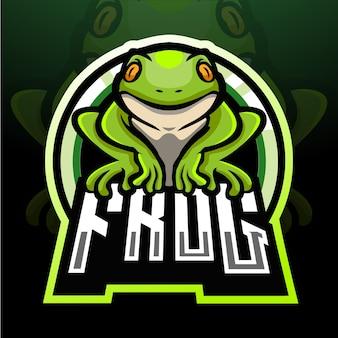 Projekt maskotki z logo esport żaby